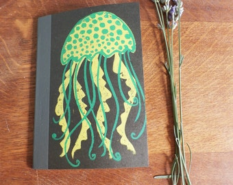 Jellyfish Notebook, MUJI, A6 Recycled Notebook, Lined, Hand Printed Linocut, Printmaking, Black, lined notebook, notebook gift,