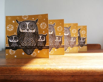 Set of 4 Cards, Christmas Linocut Cards, Owls, Original Hand Printed Cards, Blank Greeting Cards,