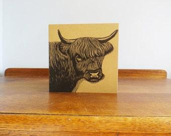 Highland Cow, Original Hand Printed Card, Linocut Card, Blank Greeting Card, Brown Kraft Card, Free Postage in UK,
