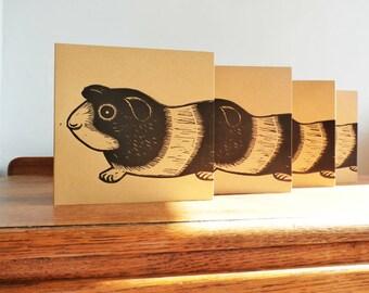 Linocut Cards Set of 4, Guinea Pig, Original Hand Printed Cards, Blank Greeting Cards, Brown Kraft Cards, Free Postage in UK,
