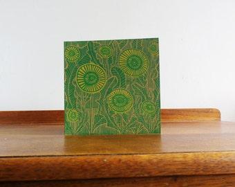 Dandelions, Valentine, Original Hand Printed Card, Linocut Card, Blank Greeting Card, Brown Kraft Card, Free Postage in UK,