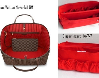 Diaper Extra Large Purse organizer for Louis Vuitton Neverful GM in Red fabric with elastic pockets