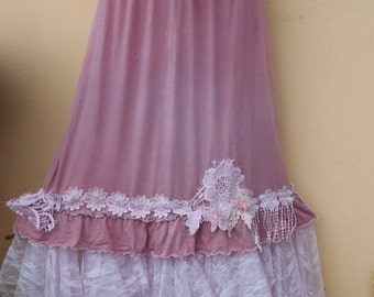 20%OFF stretch bohemian shabby wedding boho gypsy cotton skirt..... 30'' to 40'' hip or waist..FREE SHIPPING