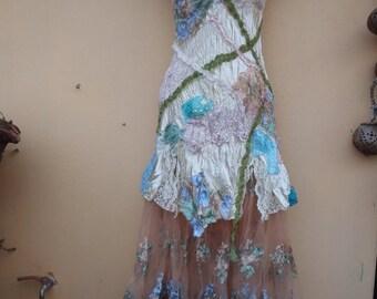"20%OFF boho wedding dress formal brides maid bohemian lagenlook gypsy vintage  .large to 48"" bust.."