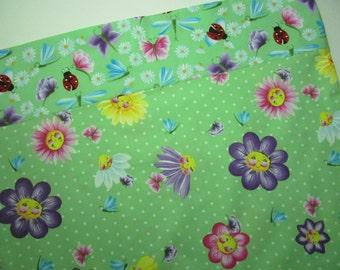 Smiley Face Flowers Standard Pillowcase Springtime Happy Face Daisy Flowers Ladybug Donna Dewberry Fabric Pillowcase Girl Gift under 10