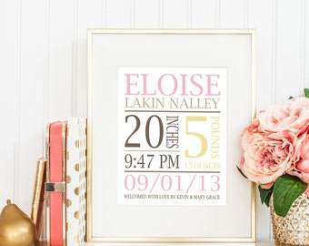 Baby Stats Nursery Wall Art - Birth Announcement Print - Name, Weight, Length, Time, Birth Date, Family