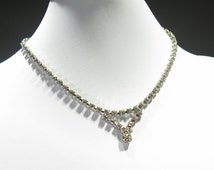 Necklace - Vintage - Antique Rhinestone Necklace - Designer Detail - Bridal Style - Multipe Shape Cuts
