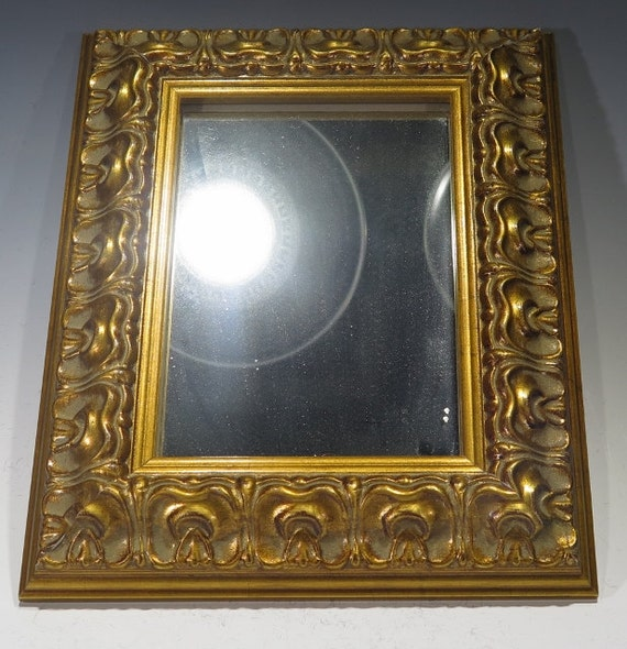 Mirror small decorative mirror with gold tone wood frame for Small gold framed mirrors