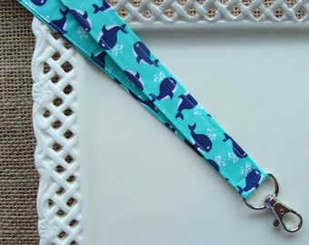 Fabric Lanyard - Blue Whales