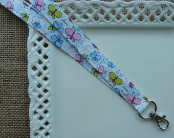 Fabric Lanyard ID - Butterflies, Live, Laugh & Love on White