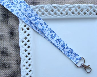 Fabric Lanyard  -  Blue Butterflies & Flowers