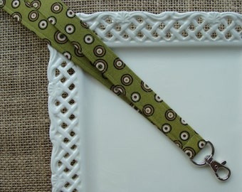 Fabric Lanyard  - Cirlces & Dots on Sage Green