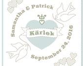 Mini Amor Heart & Lovebirds Custom Embroidered Wedding Pillow for Sam