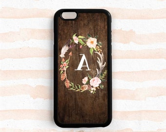 Flower Wreath iPhone 7 6s Plus Case, Personalized Monogram iPhone SE 5s , Note 3 4 5 Printed Image Wood Pattern Samsung Galaxy S6 S5 S7 NP48