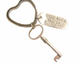 Hand Stamped Jewelry Hand Stamped You Hold The Key To My Heart Keychain - Hand Stamped Stainless Steel