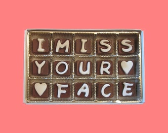 I Miss Your Face Cubic Chocolate Letters Long Distance Relationship Gift for Men Him Her Women Boyfriend Girlfriend Gift Love Valentines