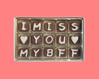Best Friend Gift Long Distance Friendship Greeting Bff Gift for Women Her Him Men Gift Unusual Idea I Miss You My BFF Cubic Chocolate Letter