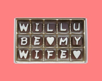 Marry Me Chocolate Gift for Girlfriend Gift for Her Proposal Gift for Woman Unique Unusual Way Will You Be My Wife Letter by What Candy Says