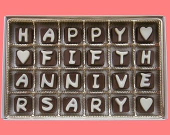 5th Anniversary Gift for Him Wedding Anniversary Gift for Her 5 Five Years Husband Gift Wife Happy Fifth Anniversary Cubic Chocolate Letter