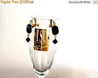 Vintage Black Gold Dangle Earrings Screwback Home Decor New Orleans Vintage Shop Holiday Retro