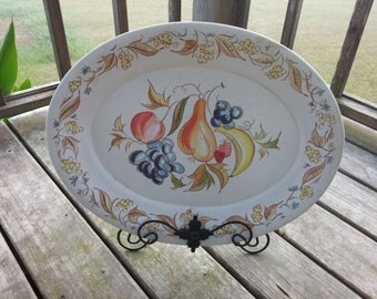 Vintage Kenro Melamine Festivity Serving Platter With Fruit Design Turkey Platter