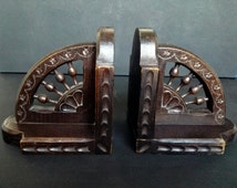 Antique French Carved Wood Bookends Victorian Art Nouveau Architectural Salvage Furniture Book Ends Home Decor