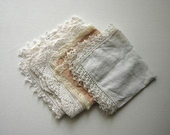 Vintage Lot of 5 Lace Handkerchief Wipe Tissue Table Cloth White Cotton Home Decor Collectibles