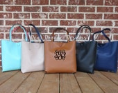 Embroidered Personalized Monogrammed Tote Faux Leather PVC Pocket Book Purse