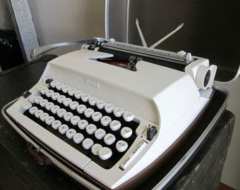 Vintage Portable Manual Typewriter - Creamy White Sears Citation Typewriter - Includes Case - Made in U.S.A. - Space Age Modern Typewriter