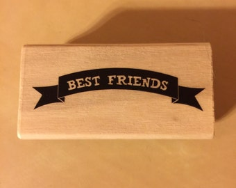 Wood mounted stamp Best Friends
