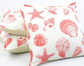Coastal Pillow Cover 18x18 with Burlap, Starfish & Seashell Coral, Throw Pillow, Cushion Cover, Toss Pillow, Accent Pillow, Shell Beach