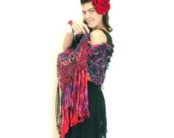 Fiber Art Crochet Scarf  Mystique of Sunset Marsala OOAK Bordo Purple Green Blue Black  Pink, Freeform Free Form
