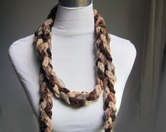 Three crochet lariat scarves Braided with organza silk in One Scarf ,long lariat scarf, Earth's colors, Crochet  Plait Scarf  Flower Brooch
