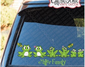 Frog Family Stick Figure Car / Truck / Vehicle Vinyl Decal Sticker
