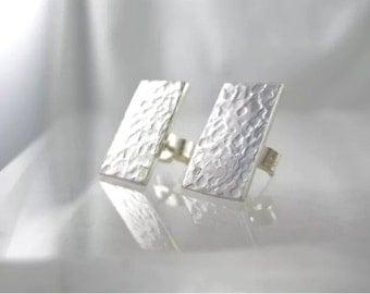 Sterling Silver Hammered Rectangular Ear Studs 15 x 8mm - Handmade