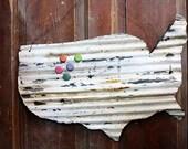 Upcycled Tin United States Wall Decor Memo Board