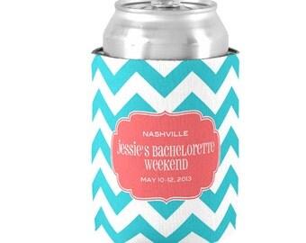 4 Personalized Bachelorette Can Coolers  -  Bachelorette Party Favor Coolies - Customize Colors