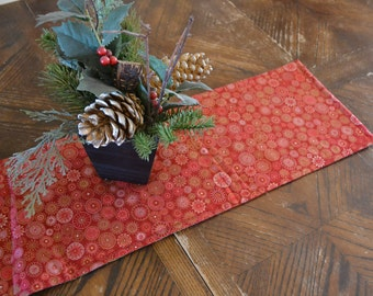 Reversible Christmas Table Runner Quilted Red Poinsettia Gold