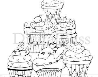 Adult Coloring Page INSTANT DOWNLOAD, Adult Coloring, Cupcake Coloring Page, Hand Drawn Cupcake image,  Line Drawing, Scrapbooking
