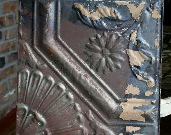 "12"" Antique Tin Ceiling Tile - Rusty Patina - Unique Design with Flower"
