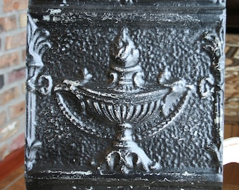 """12"""" Antique Tin Ceiling Tile -- Distressed Black Paint -- Highly Embossed and Rare Urn Design"""