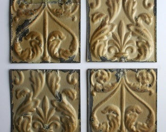 Genuine Antique Ceiling Tin -- 6 inch Tiles --  Crafts, Backsplashes, Birdhouses -- E1