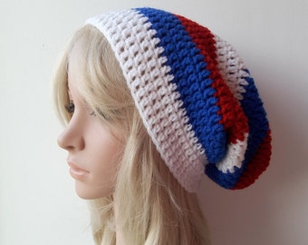 Crochet Beanie, Slouch,Womans,  Mens or Unisex ,Stripped Slouchy Hat White-Red-Blue