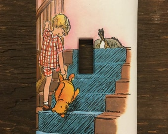 Winnie the Pooh Upcycled / Recycled Light Switch Plate