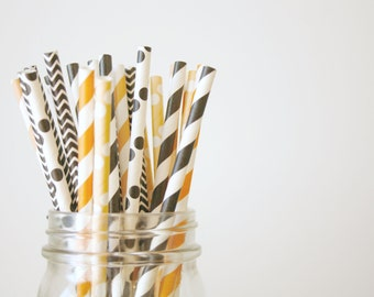 Halloween Decor , Paper Straws , Orange and Black, Halloween and Party Decorations, mason jar buffet table