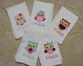 Personalized Owls Burp Cloth SINGLES - set 2