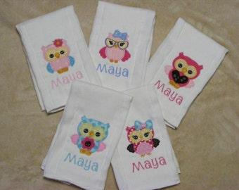 Personalized Owls Burp Cloth Set 2