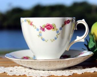 Royal Stuart, Spencer Stevenson, Teacup, Tea Cup and Saucer, English Bone China, Floral Garlands 13122