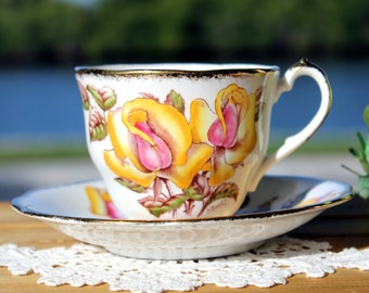 Queen Anne Teacup, Vintage Tea Cup, Cup and Saucer, Windsor Rose, Hand Painted, Bone China  13125