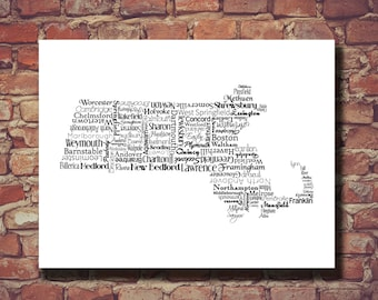 Massachusetts Print, MA, Boston, State Art, Massachusetts Map, Wedding Gift, Personalized, Print, Custom, Housewarming Gift, Travel Map